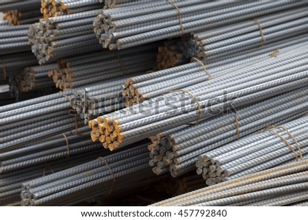 construction steel bars, iron rod, deformed bars - stock photo