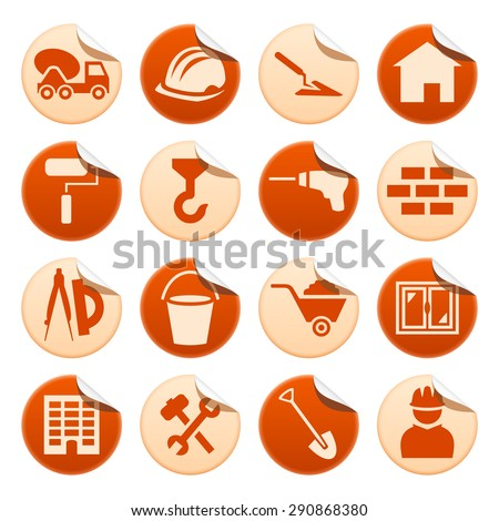 Construction stickers - stock photo