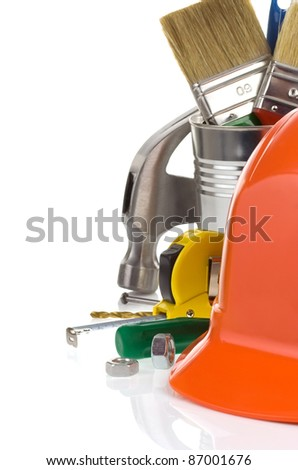 construction tools and box isolated on white background