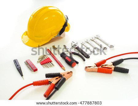 Construction Tools on white background