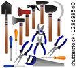 construction tools, shovel, shears, pliers, hammer, scissors, screwdriver, ax, sickle - stock photo