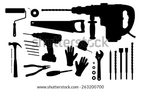 Construction tools silhouettes set: paint roller, insulating tape, hand saw, puncher, drill and bits, hammer, nails, pliers, screwdriver, measuring tape, wrench tools, working gloves - stock photo