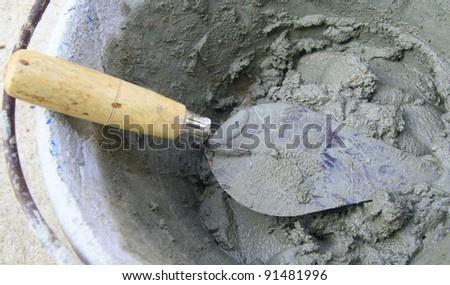 construction trowel - stock photo