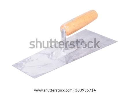 construction trowel, isolated on white background - stock photo