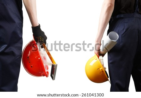 Construction. Two of the builder. - stock photo