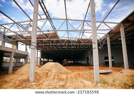 construction warehouse, factory - stock photo