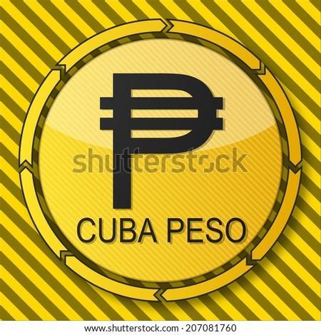 Construction Warning Button Cuba Peso Symbol Stock Illustration