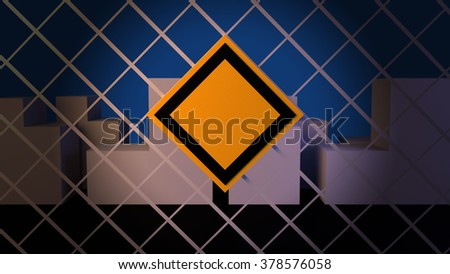 Construction warning sign on steel net mesh barrier fence. City landscape background. - stock photo