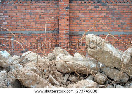Construction waste at a construction site during renovation work - stock photo