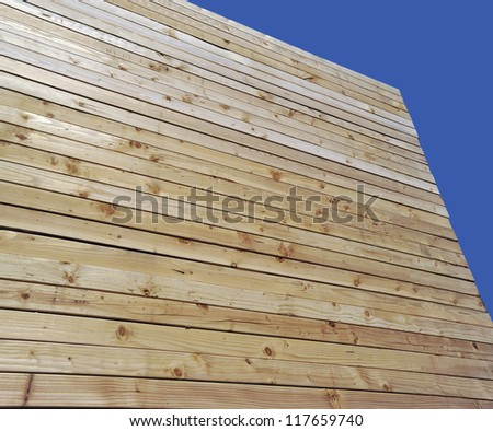 Construction wood in the stack - stock photo
