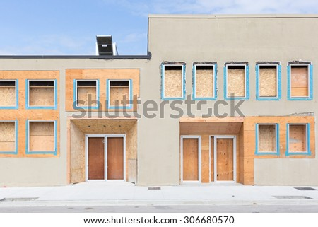Construction - Wood - Windows - stock photo