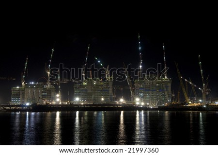 construction work at night - stock photo