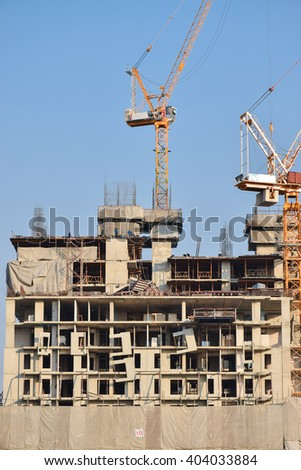 Construction work for high rise building with tower crain - stock photo
