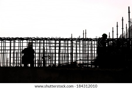 Construction work in the new building - stock photo