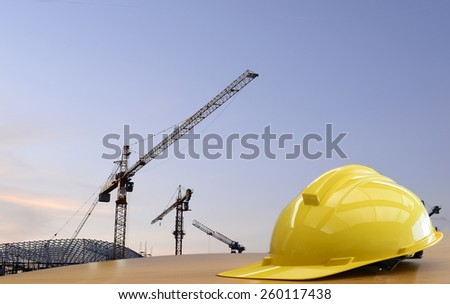 Construction  work Safety helmet ,safety first sign. - stock photo