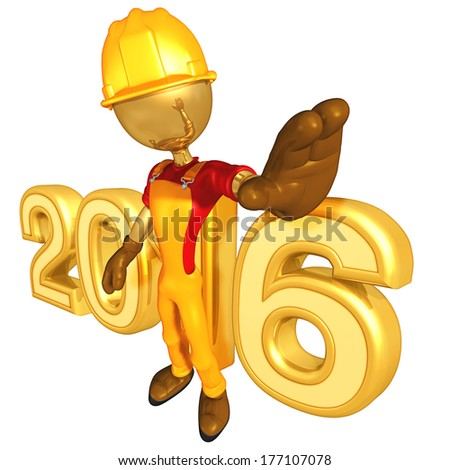 Construction Worker 2016 - stock photo