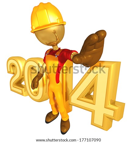 Construction Worker 2014 - stock photo