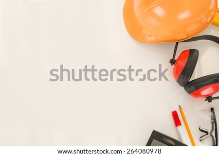 Construction worker attributes: engineering background - stock photo