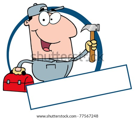 Construction Worker Banner - stock photo