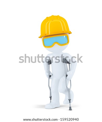Construction worker/builder on crutches. Isolated on white background - stock photo