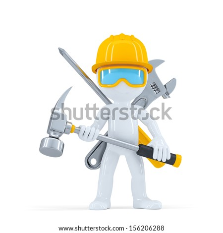 Construction worker/builder with hammer. Isolated on white background - stock photo
