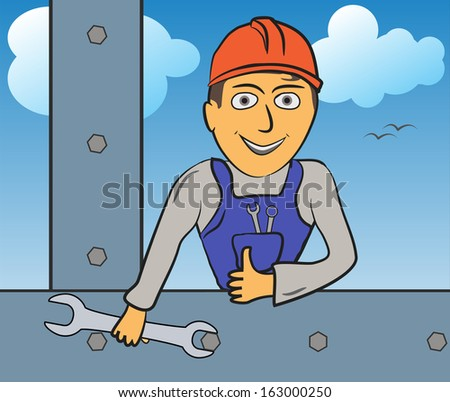 Construction worker builds iron construction, wrench in hand - Raster version - stock photo
