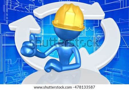 Construction Worker Character With Recycle Symbol Behind 3D Illustration