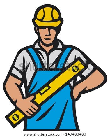 construction worker (construction man, builder man) - stock photo