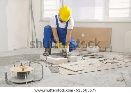 Construction Worker Cutting Tile Using Angle Stock Photo Image