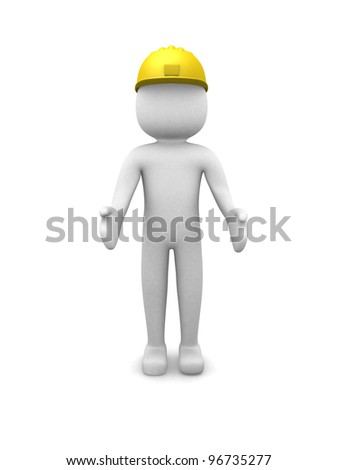 Construction worker - 3d render illustration