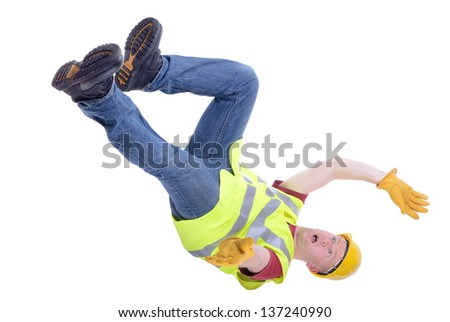 Construction worker falling isolated on white background - stock photo