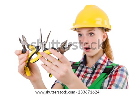 Construction worker female with pliers isolated on white - stock photo