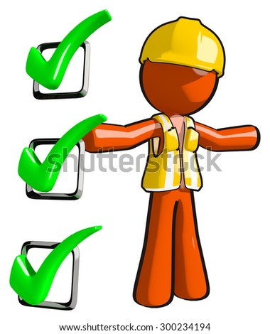 Construction worker green check marks forms or testing