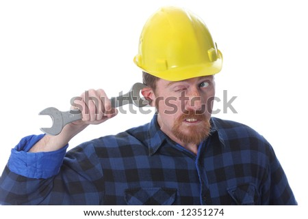 construction worker handle double wrench on ear - stock photo