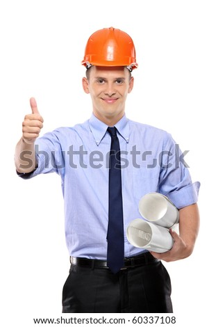 Construction worker holding blueprints and giving thumbs-up against white background - stock photo