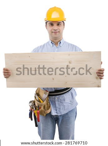 Construction worker holding wood with space for your text isolated on white background.     - stock photo