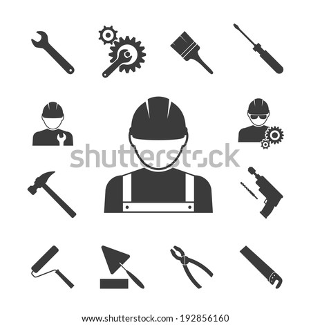 construction worker icons: hammer, pliers, saws and drill - stock photo