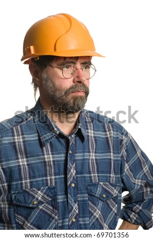Construction worker in a helmet. Isolated on white. - stock photo