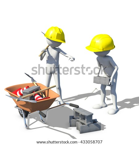 Construction worker in action, 3d rendering