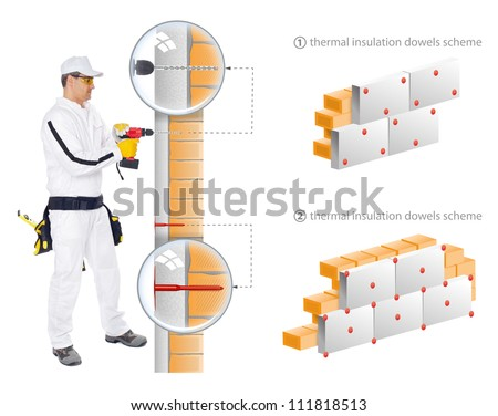 Construction worker in white overalls show in scheme how to install insulation of house walls