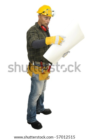 Construction worker isolated in white - stock photo