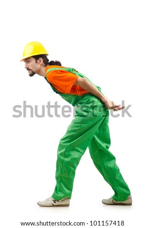 Construction worker isolated on the white - stock photo