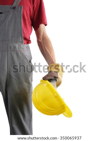 Construction worker isolated on white