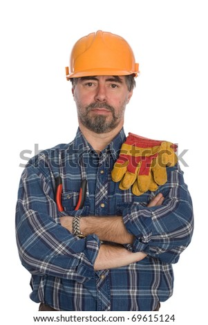 Construction worker. Isolated on white. - stock photo