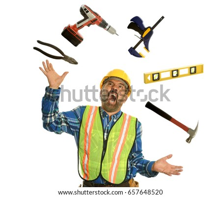 Construction worker juggling with tools and showing stress isolated on a white background
