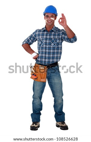 Construction worker ok after an accident - stock photo