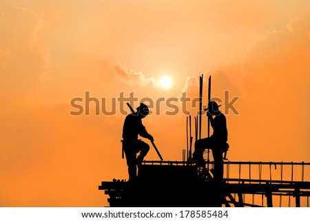 Construction worker on a construction site - stock photo