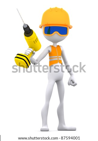 Construction Worker on duty with electric drill. Isolated