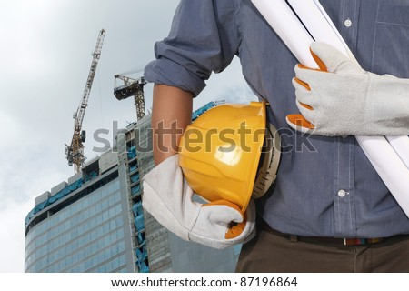 construction worker on suite - stock photo