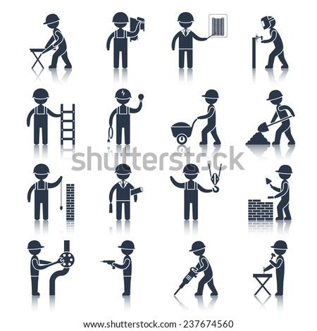 Construction worker people silhouettes icons black set isolated  illustration - stock photo